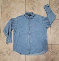 Vintage Polo Ralph Lauren Denim Shirt BLAKE Button RRL Double RL XL