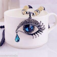 Occhio dell Angelo stupenda Collana in perle,cristallo Vero blu,protezione Horus