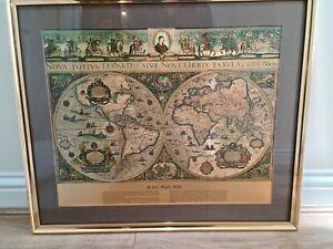 BLAEU WALL MAP OLD & NEW WORLD NOVA TOTIVS SIVE TERRAROM ORBIS TABVLA FRAMED