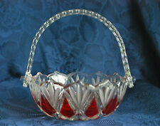 Waltherglas - Walther Glass Bowl Basket - Red and Clear with Handle #35