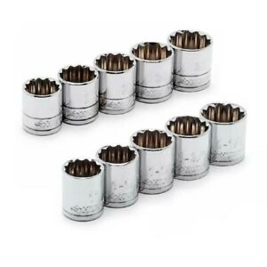 Socket Set 1/2 in. Drive X-Large SAE Metric 12-Point 10-Piece Polished Chrome