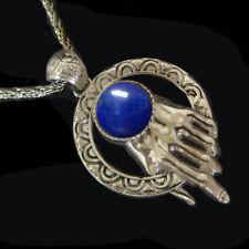 Lapis Lazuli Sterling Silver Hamsa Pendant Most Popular Original Rare Handmade