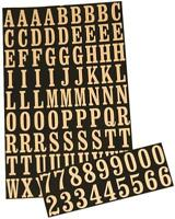 """NEW HY-KO MM-2 BLACK & GOLD STICK ON ADHESIVE 99PC 1"""" NUMBERS & LETTERS 0250399"""