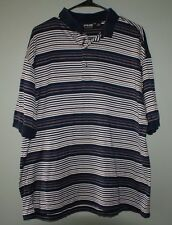 Ping Collection double mercerized cotton striped short sleeve polo shirt mens L