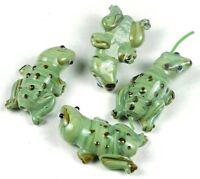 28x15mm Lampwork Handmade Glass green Frog Beads (4)