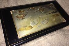 Vintage Musical Jewelry Box Art Of Chokin- Kojyo No Tsu 00004000 ki- Etching Metal Black