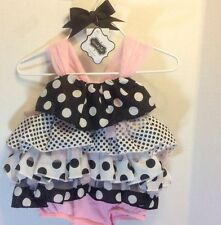 Mud Pie DRESS & HEADBAND Baby Girls 9-12M PolkaDot Bubble Ruffle SunSuit BEACH
