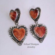 Schaef Designs Orange Spiny Oyster Stamped Sterling Silver Heart POST Earrings