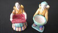 Set of 2 Vintage Perugia Italy Hand Painted Ceramic Figurines / Olive Servers