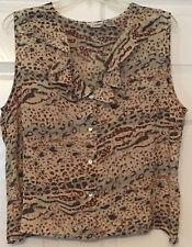 Women Le Caviar Sleeveless Front Button Shirt Top Size XL Brown Print