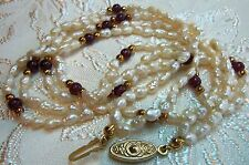 Vintage Dainty Layered Biwa Pearl Amethyst Gold bead necklace Estate jewelry