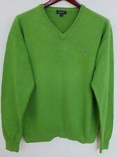 XBM77 Hombre Gant Verde Cuello en 'V' Suéter de Algodón TALLA L