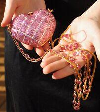 Kathrine Baumann Quilted Pink Heart swarovski crystal clutch Judith Leiber Comb