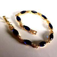 "GB Blue marquise sapphire +sim diamond 18k gold filled 7"" bracelet BOXED Plum UK"