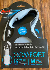 Brand New Flexi Comfort Soft Grip 16 Foot Tape Leash - Medium - Gray & Black NIB