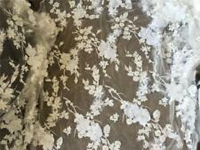 3D Flower Embroidery Lace Fabric Handcraft DIY Bridal Wedding Dress Gown 1 Meter