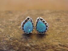 Zuni Indian Sterling Silver Teardrop Opal Post Earrings! Ryland Cachini
