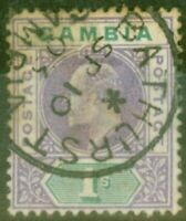 Gambia 1902 1s Violet & Green SG52 Ave Used CDS