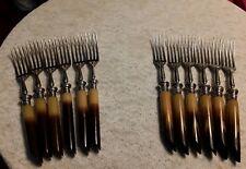 Set Of 12 BROWN BAKELITE handle Luncheon Forks