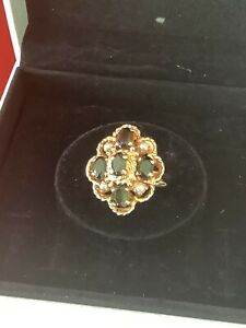 14ct Gold Tourmaline and split pearl ring