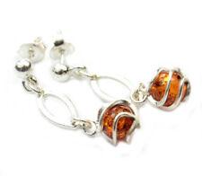 SilverAmber Jewellery Earings GL023 925 Sterling Silver Cognac Amber Stones