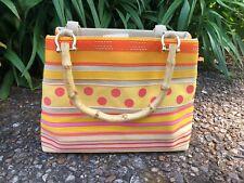 Tianni Bamboo Handle Ribbon Stripes Polka Dots Orange Yellow Pink