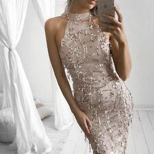 Sexy High Neck Sleeveless Summer Women Fashion Wedding Elegant Party Long Dress