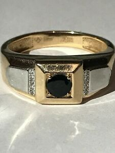 14K 585 GOLD Russian ring for men Sapphire and diamonds