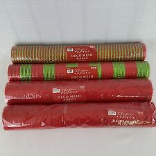 "Deco Mesh Ribbon Christmas 21"" x 30"" Lot of 4 Craft Rolls Red Hobby Lobby NIP"