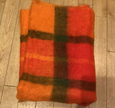 "Pringle Of Inverness Orange Check Mohair Wool Throw 64"" X 48"" Vgc"