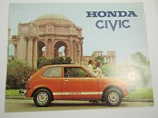 "Auto Car 1-Page Poster 8 1/2 x 11"" Honda Civic 1974 Red Orange"