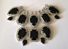 DRAMATIC LARGE BLACK FACETED GLASS COLLAR PENDANT - WEAR WITH YOUR CHAIN