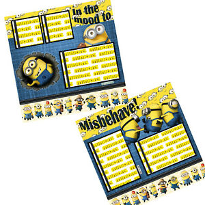 Minion Misbehave premade scrapbook pages PRINTED