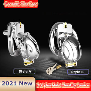 Male Chastity Device Metal Openable Ring Cage Quick Disassemble Cap Flip Design