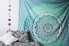 Green Ombre Queen Wall Hanging Hippie Indian Mandala Tapestry Bedspread Throw