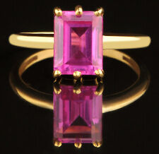 14KT Yellow Gold / 1.60Ct Octagon Shape Natural Pink Tourmaline Solitaire Ring