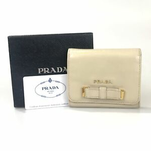 PRADA Wallet Three-folded wallet leather beige Authentic USED