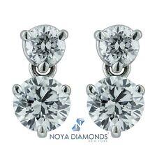 0.95 CARAT E VS2 DANGLING DIAMOND DROP STUD EARRINGS SET IN 14K GOLD