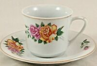 Porcelain Made in China Floral Gold Trimmed Cup and Saucer