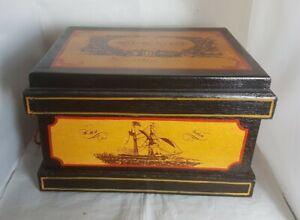 Beautiful Vintage Large Wooden Royal Navy Storage Box