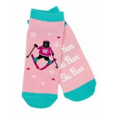 Hatley No Slip Ankle Socks WOMENS Medium SKI BUM Black Bear Skier