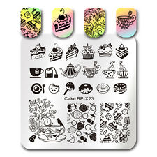 BORN PRETTY Square Nail Art Stamp Template Cake Afternoon Tea Design Image Plate