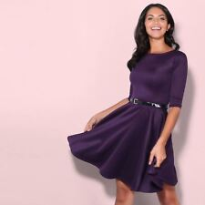 Womens Flared Franki Belted 3 4 Sleeve Top Party Pleated Retro Skirt Party Dress Purple 14