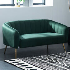 2 Seater Sofas Emerald Green Velvet Settee Shell Back Armchair Reception Chairs