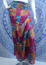 BOHO GYPSY WRAP TIE SKIRT LINED PATCHWORK MULTI COLOUR ELEPHANTS HORSES INDIAN