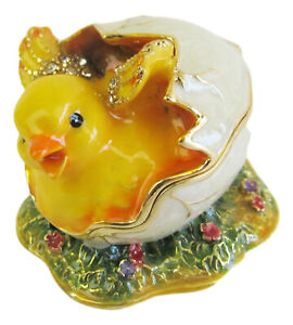 Hatching Chicken Chick Jewelled Trinket Box figurine Approx 4cm High