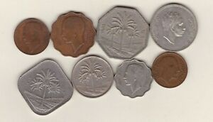 EIGHT COINS FROM IRAQ IN FINE OR BETTER CONDITION.