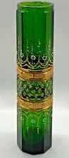 Incredible GREEN Polished Glass Jar Vase possibly Bohemian Wh Enamel Design Gold