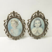 Vintage Antique Victorian Brass Picture Frame Bubble Glass 10 In. Child Set Of 2