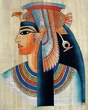 """Egyptian Hand-painted Papyrus Artwork: Queen Nefertari 12.5"""" x 16.5 """" IMPORTED"""